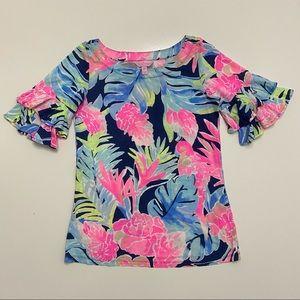 Lilly Pulitzer Lula Tropicolada Ruffle Shirt XXS